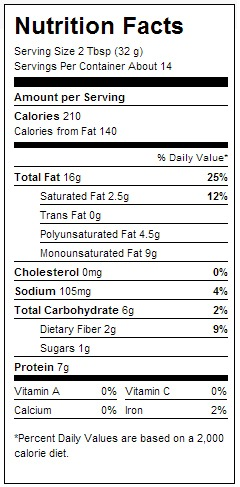 Smuckers natural peanut butter nutrition facts