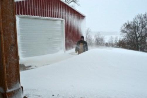 garage snow drift