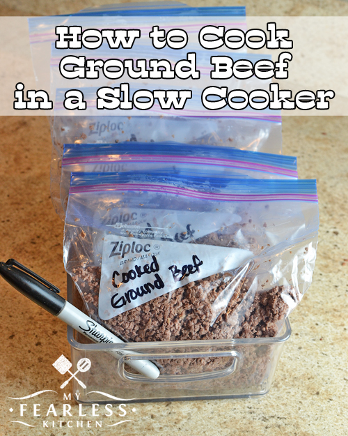 How to Cook Ground Beef in a Slow Cooker from My Fearless Kitchen. Have you ever cooked ground beef in bulk? Cooking ground beef in your crock pot is a great way to stock your freezer for quick meals on busy nights!