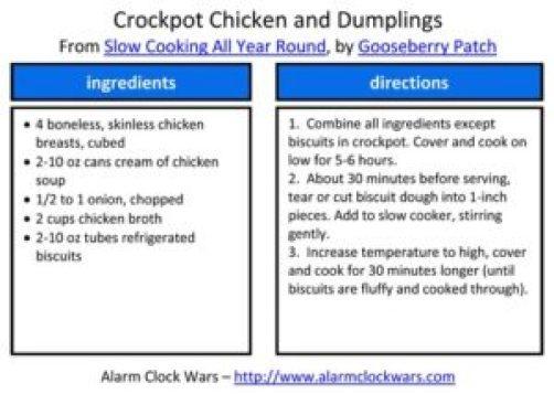 crockpot chicken and dumplings recipe card