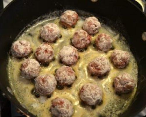 brown meatballs in butter