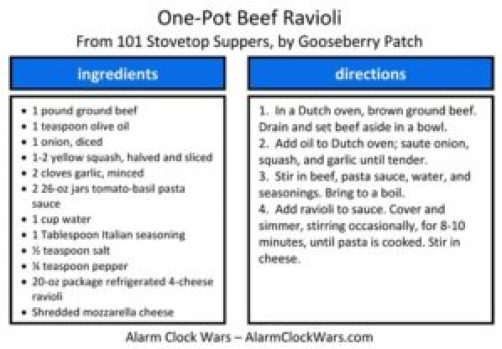 one-pot beef ravioli recipe card