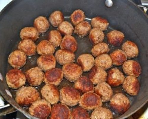 brown meatballs