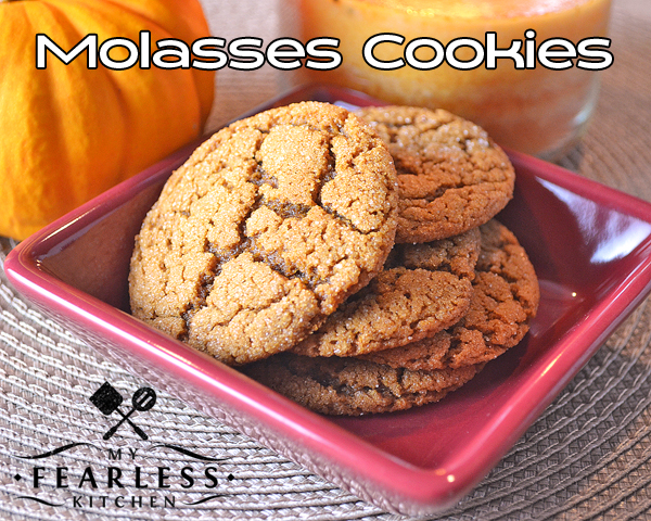 Molasses Cookies from My Fearless Kitchen. There's no need to wait for fall to make these amazing Molasses Cookies! Who says these flavors are only for one season anyway? You'll love these easy cookies for a simple snack anytime.