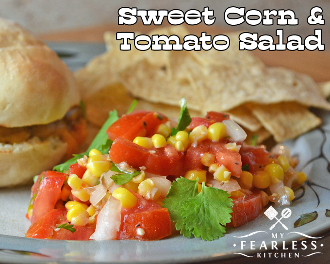 Sweet Corn & Tomato Salad from My Fearless Kitchen. This Sweet Corn and Tomato Salad is a wonderful cold salad, packed with tons of summer flavor. Use fresh sweet corn, or substitute canned or frozen!