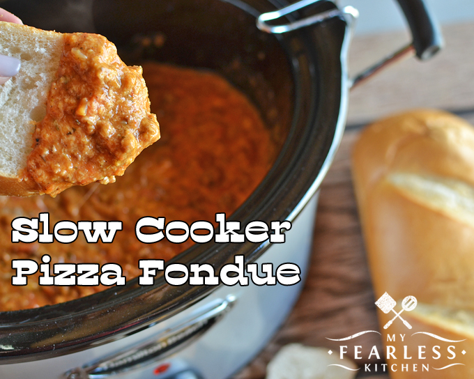 Slow Cooker Pizza Fondue from My Fearless Kitchen. This Pizza Fondue will keep warm in your slow cooker as long as you need... but it won't last long! Packed with meat and cheese, it's pizza on a spoon!