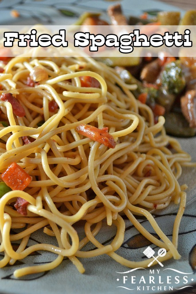 Fried Spaghetti from My Fearless Kitchen. Are you looking for a fast and easy new side dish recipe? Pack this Fried Spaghetti recipe with extra veggies and pair it with your favorite meals!