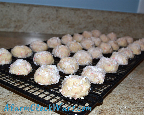 baked peppermint snowball cookies