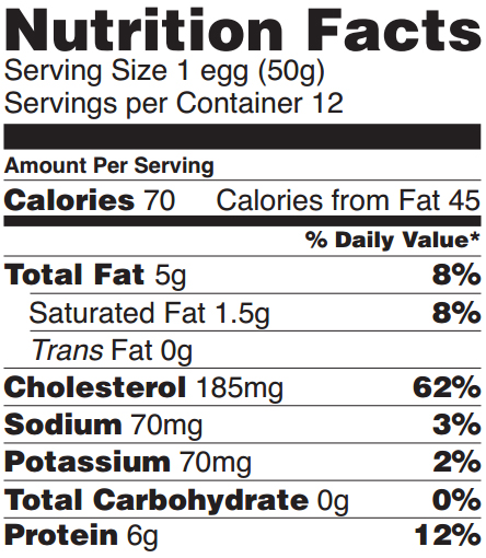 nutrition label for eggs