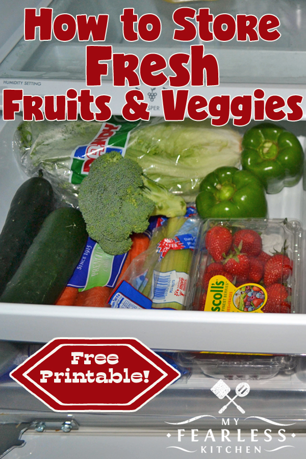 How to Store Fresh Produce from My Fearless Kitchen. There is always lots and lots of fresh produce available at grocery stores! Before you spend a ton of money, be sure you know the best way to store fruits and vegetables to keep them fresh the longest. #kitchentips #kitchenhacks #vegetables #kitchenstorage
