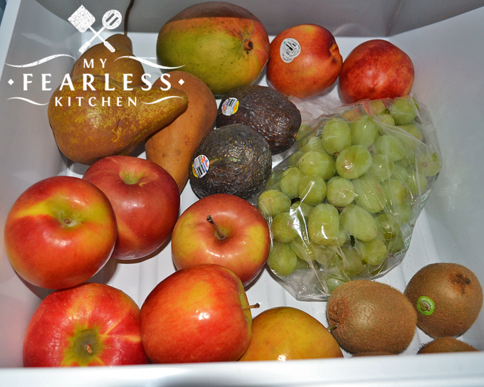 fruits in the low humidity crisper drawer in a refrigerator