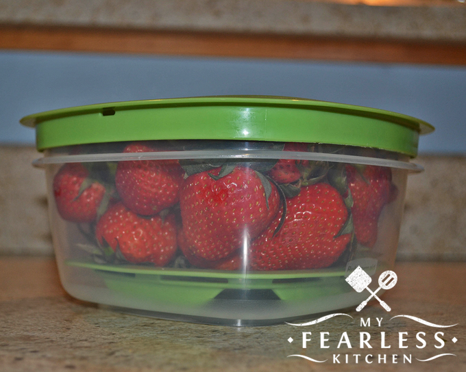 strawberries in a vented container
