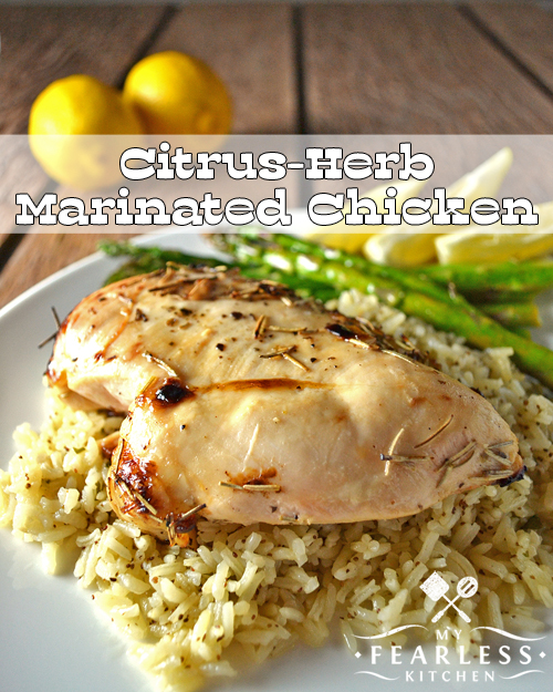 grilled citrus marinated chicken breast with asparagus, lemon, and rice