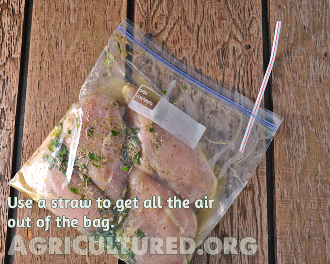 Marinate meats in a Ziploc bag. Use a straw to get all the air out before sealing the bag.