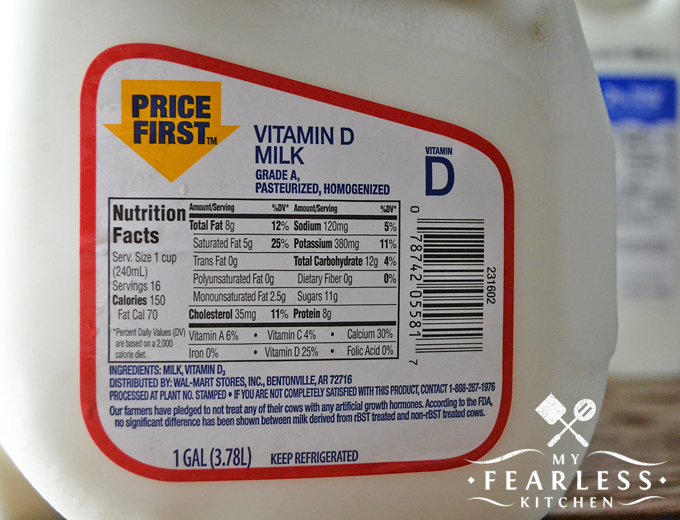 How Much Fat is in Milk? from My Fearless Kitchen. Do you drink skim or whole milk? The only difference between different types of dairy milk is how much fat is in the milk. The other nutrients are the same!