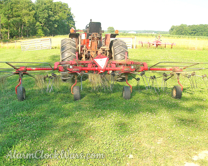 A hay tedder flips the hay around so it gets exposed to air and can dry.