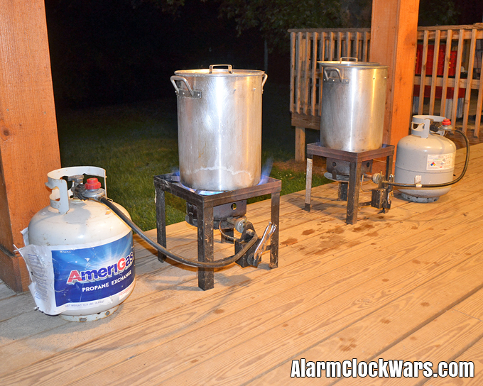 Two propane-powered turkey fryers means twice the canning power!