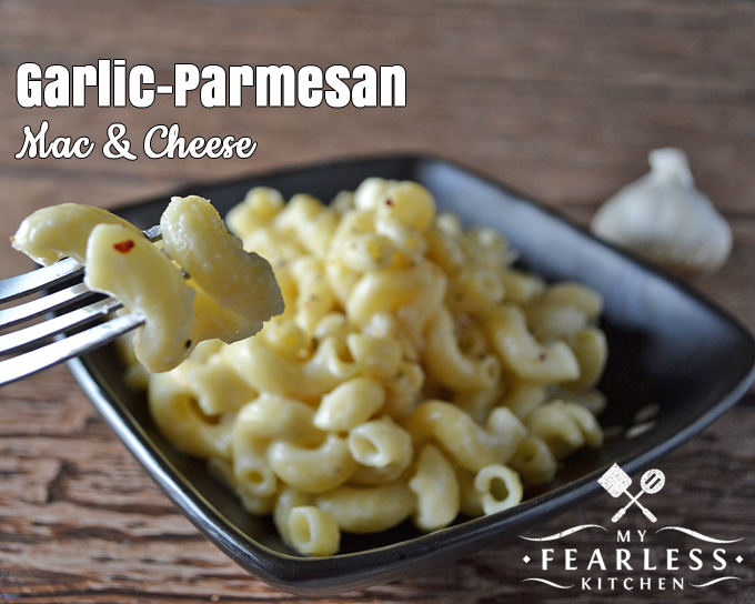 Garlic-Parmesan Mac & Cheese from My Fearless Kitchen. Macaroni & Cheese doesn't have to be just for kids! This Garlic-Parmesan Mac & Cheese is a fun twist on a classic comfort food.