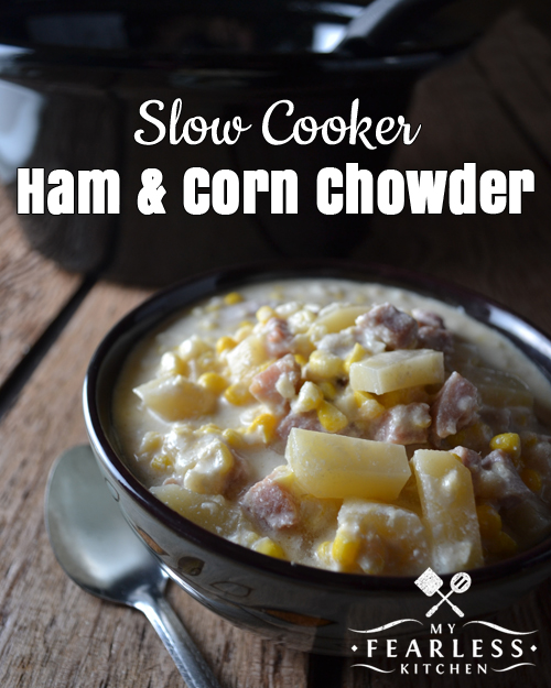 a bowl of slow cooker ham and corn chowder