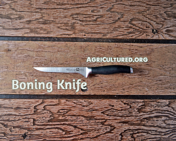 Boning knives are thin and flexible. They should only be used for delicate tasks.