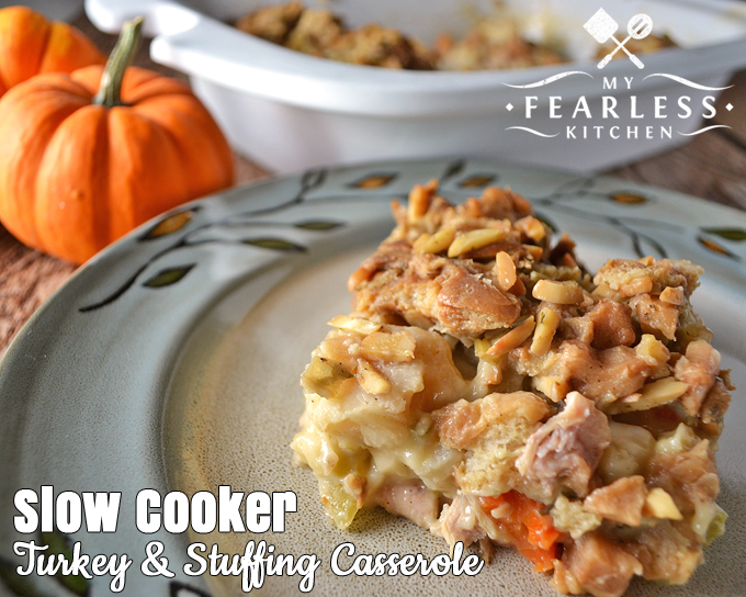 Slow Cooker Turkey and Stuffing Casserole from My Fearless Kitchen. You don't have to wait for Thanksgiving to enjoy those classic flavors. Use up your leftovers, or make this Slow Cooker Turkey & Stuffing Casserole anytime.