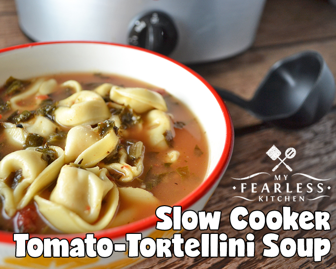 Slow Cooker Tomato-Tortellini Soup from My Fearless Kitchen. This Slow Cooker Tomato-Tortellini Soup recipe is so simple, it's the perfect recipe for a busy, cold day. This a hearty soup that will keep you warm and toasty.