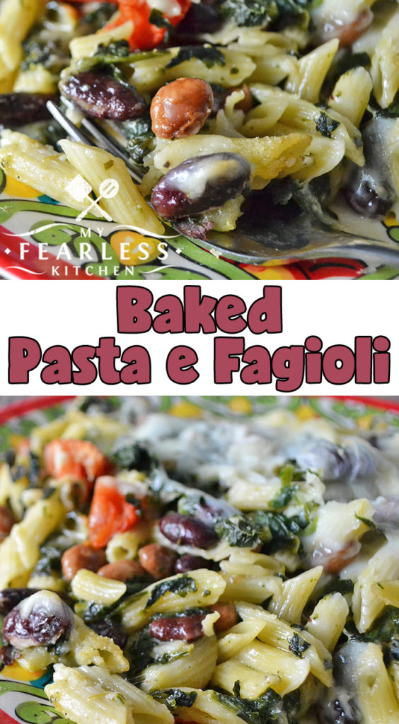 Baked Pasta e Fagioli from My Fearless Kitchen. This recipe for Baked Pasta e Fagioli is a fun twist on the traditional soup. Packed with pasta, cheese, and vegetables it's another kind of comfort food! #pastarecipes #vegetables #easyrecipes