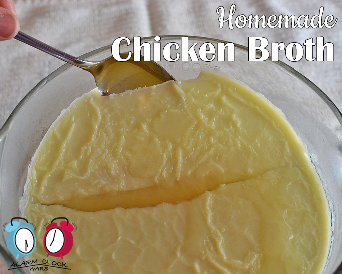 Homemade chicken broth recipe from Alarm Clock Wars. Have you ever made homemade chicken broth? It's great as a base for classic chicken soup, or to keep on hand for a boost of flavor in any recipe. And it's so much easier than you think! After the broth is refrigerated, the fat is easy to remove. Just take it right off the top.