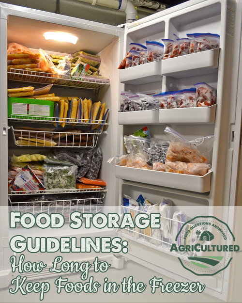 Freezer storage guidelines from AgriCultured. A well-stocked freezer can make meal planning, grocery shopping, and cooking easier. Do you know how long you can keep food in your freezer? These food storage guidelines will help keep your food fresh.