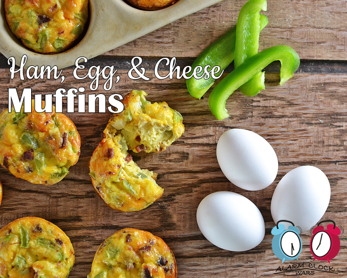 ham egg and cheese muffins with white eggs and green pepper strips