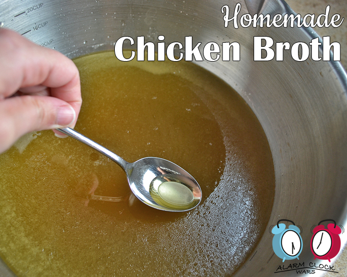 Homemade chicken broth recipe from Alarm Clock Wars. Have you ever made homemade chicken broth? It's great as a base for classic chicken soup, or to keep on hand for a boost of flavor in any recipe. And it's so much easier than you think! If you're going to use the broth right away, just skim the fat off the top first.