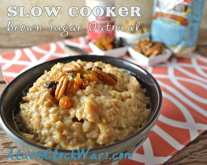bowl of brown sugar oatmeal with an orange and white placemat