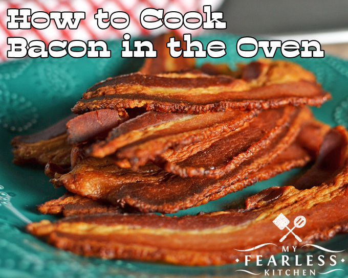 How to Cook Bacon in the Oven from My Fearless Kitchen. You won't believe how easy it is to cook bacon in the oven. Once you try it, you'll never want to go back to messy stovetop bacon frying again!