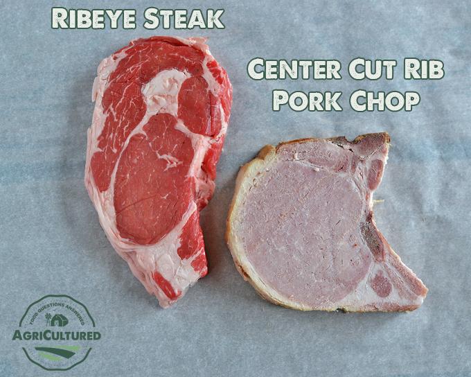 A center cut rib pork chop is the same cut as a ribeye steak.