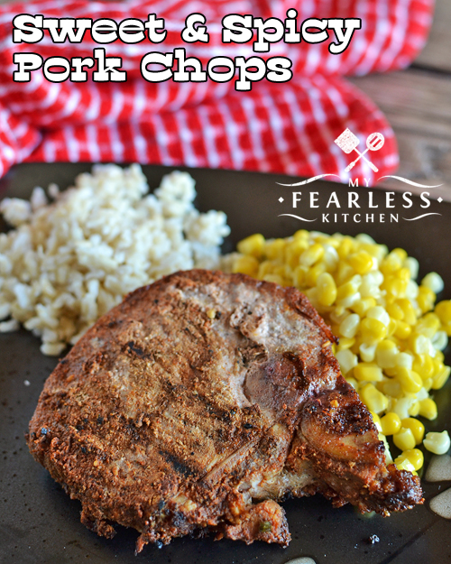Sweet & Spicy Pork Chops from My Fearless Kitchen. Prep some thick-cut pork chops with this simple rub in the morning, and make these amazing Sweet & Spicy Pork Chops for a fast weeknight meal.