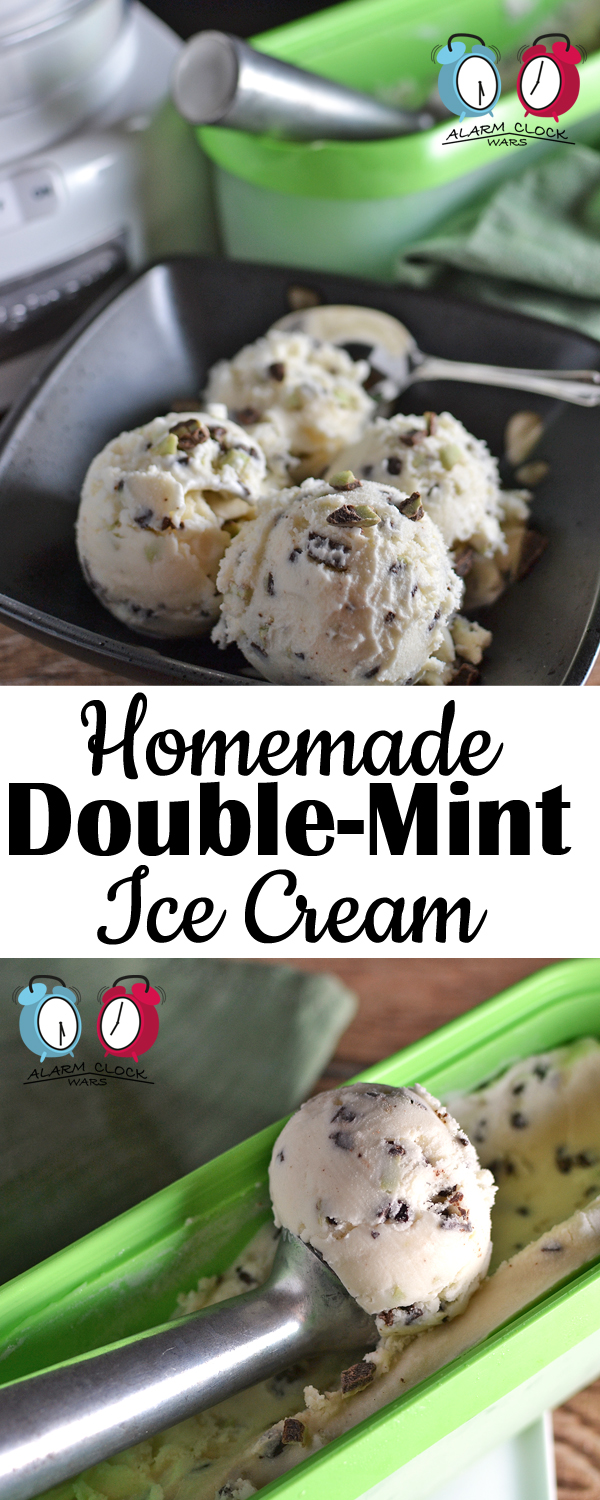 Double-Mint Ice Cream on Alarm Clock Wars. Do you want a refreshing treat at the end of the long day? This Homemade Double-Mint Ice Cream hits the spot, every single time!