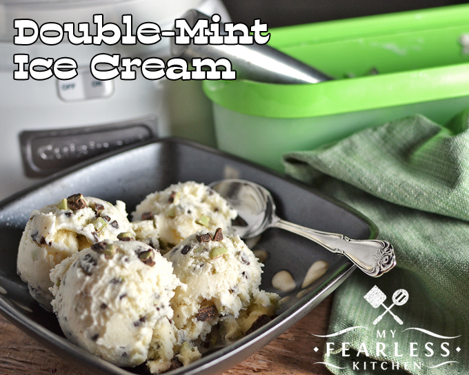Homemade Double-Mint Ice Cream from My Fearless Kitchen. Do you want a refreshing treat at the end of the long day? This Homemade Double-Mint Ice Cream hits the spot, every single time!