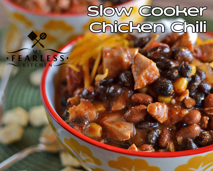 Slow Cooker Chicken Chili from My Fearless Kitchen. This Slow Cooker Chicken Chili is a fast, flavorful, dump-and-go recipe. It makes plenty for leftovers, and is an easy way to stay on budget.