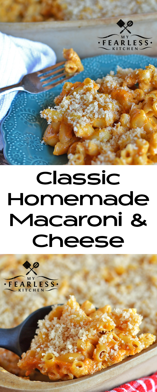 Classic Homemade Mac & Cheese from My Fearless Kitchen. This Classic Homemade Macaroni and Cheese recipe uses a homemade cheese sauce, but it's so easy you'll want to make it all the time!