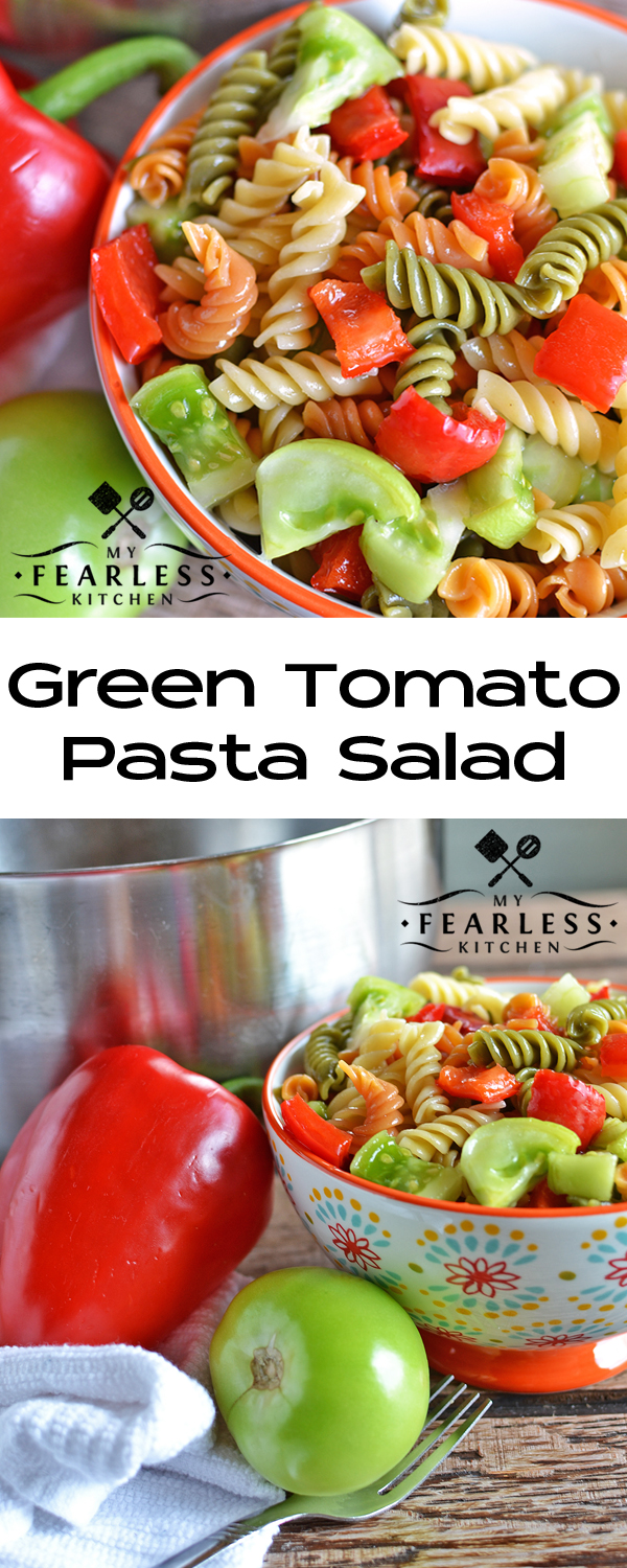 Green Tomato Pasta Salad from My Fearless Kitchen. Can't wait for the tomatoes in your garden to get ripe? Enjoy fresh summer veggies with this Green Tomato Pasta Salad recipe!