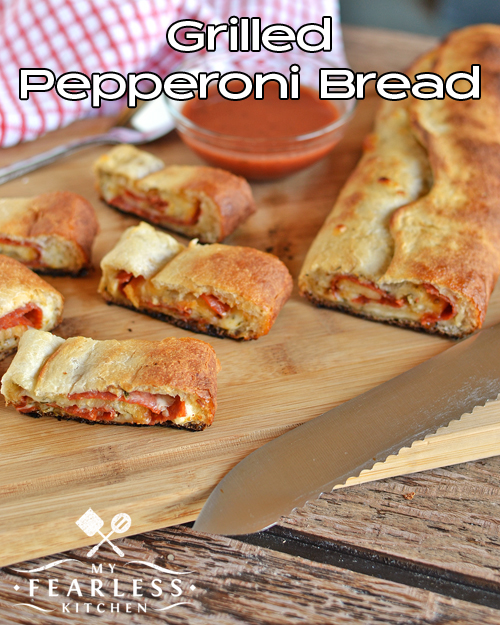 Grilled Pepperoni Bread from My Fearless Kitchen. Are you bored with regular pizza night? Don't want to turn on your stove? Try this Grilled Pepperoni Bread to shake up boring old pizza!