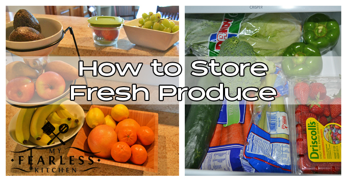 a collage of how to store fresh produce