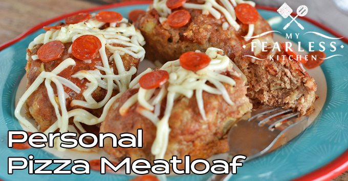 mini meatloaves topped with pepperoni and shredded cheese