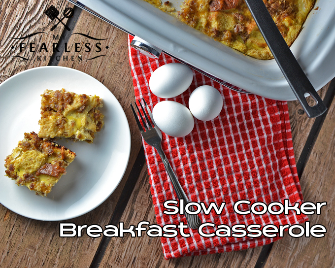 Slow Cooker Breakfast Casserole from My Fearless Kitchen. Make this Breakfast Casserole in your slow cooker for a hot, yummy breakfast that doesn't involve standing over the stove all morning!