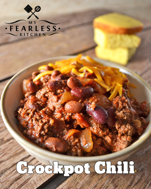 Crockpot Chili from My Fearless Kitchen. Whip up a batch of this Crockpot Chili to welcome in the chilly fall weather! It's so quick to put together, and it smells so great simmering all day long.