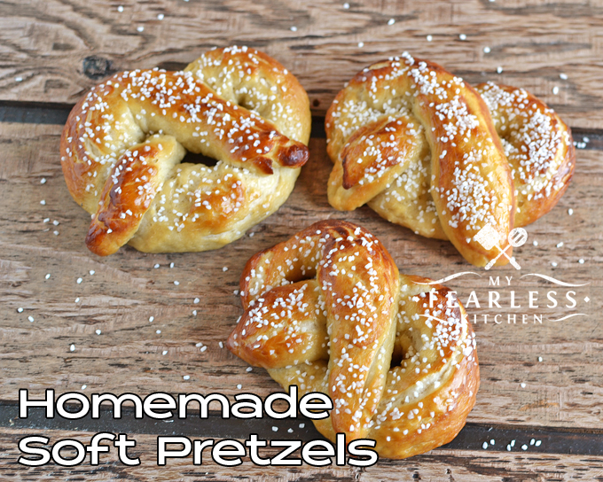 Homemade Soft Pretzels from My Fearless Kitchen. Do you crave soft pretzels? Don't wait for your next trip to the mall to get them - make your own soft pretzels! It's not as hard as you think!