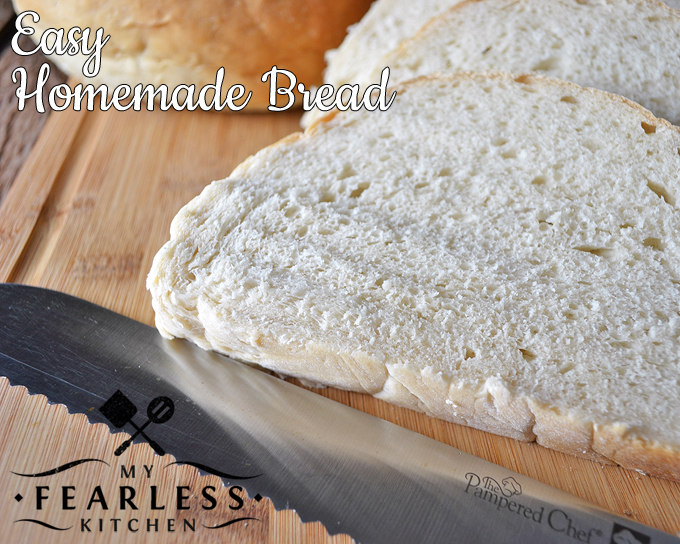 Easy Homemade Bread from My Fearless Kitchen. This Easy Homemade Bread recipe is so easy to do, you'll wonder why you didn't try it sooner! Serve it with hot soup for the perfect comfort food.