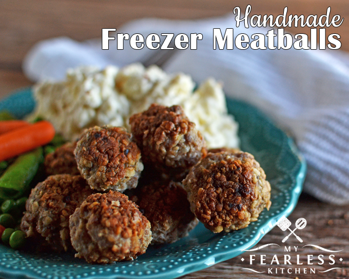 Handmade Freezer Meatballs from My Fearless Kitchen. Make a big batch of these Handmade Freezer Meatballs to stock your freezer. Take out only what you need for tonight's dinner, and keep the rest for later!