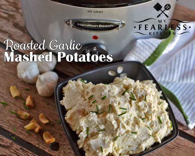 Roasted Garlic Mashed Potatoes from My Fearless Kitchen. These Roasted Garlic Mashed Potatoes are easy to put together, and so very flavorful. The roasted garlic is so mellow, these potatoes are sure to be a hit!