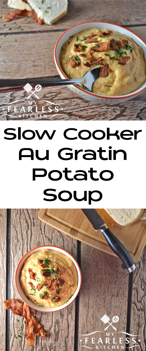 Slow Cooker Au Gratin Potato Soup from My Fearless Kitchen. Warm up with this creamy Slow Cooker Au Gratin Potato Soup. It's fast and easy to put together, without spending hours scrubbing and chopping potatoes!